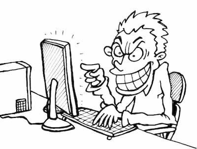 Cyberpesten - Cartoon copyright Stichting Stop Pesten NU