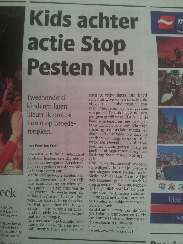 De Stentor over Stop Pesten Nu actie in Deventer