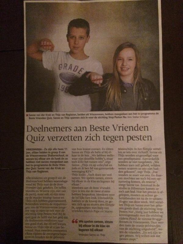 Thijs en Sanne Beste Vrienden Quiz voor Stichting Stop Pesten Nu