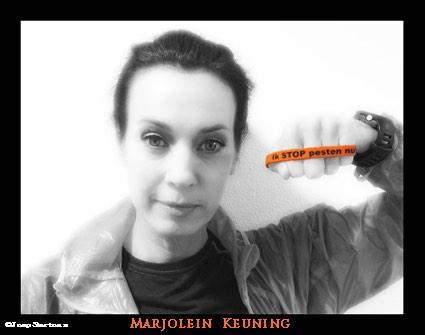 Marjolein Keuning zegt: Ik STOP pesten nu! met oranje bandje tegen pesten