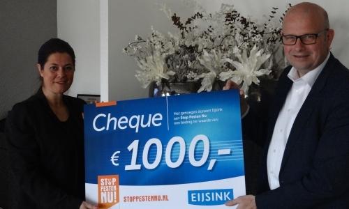 Eijsink steunt Stichting Stop Pesten Nu