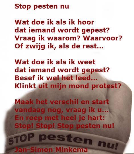 Gedicht Jan Simon Minkema Stop Pesten Nu