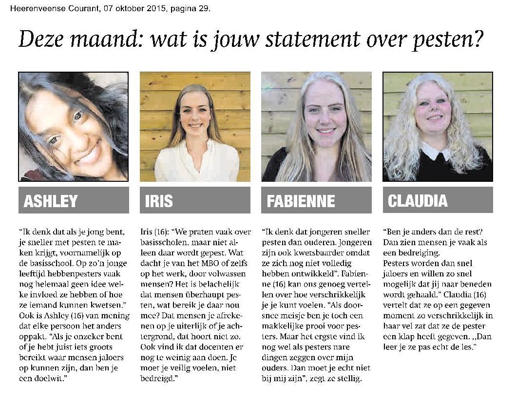 Heerenveense Courant 7 oktober 2015
