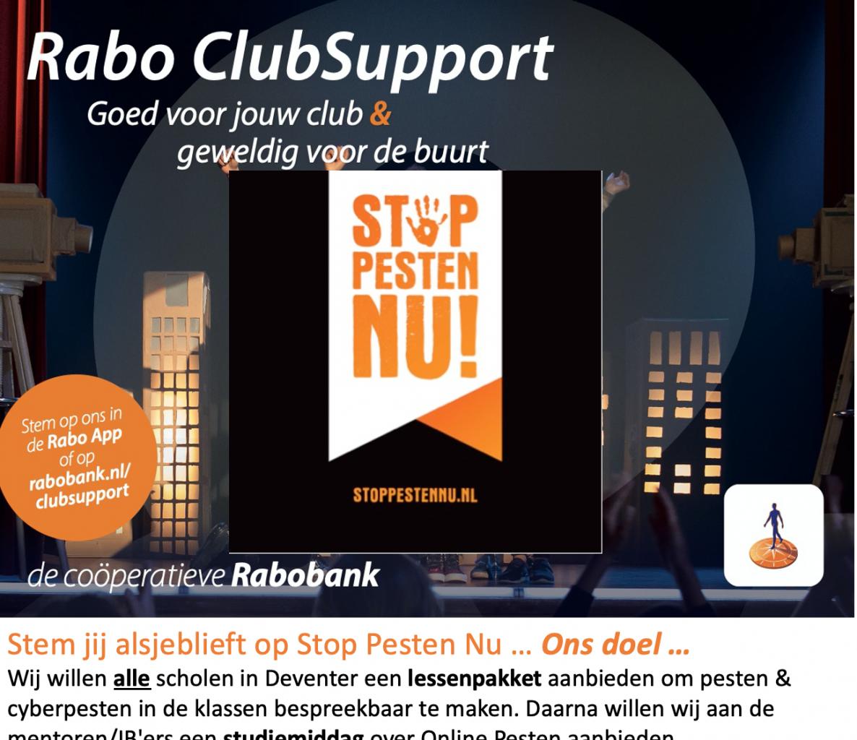 Rabo ClubSupport Stichting Stop Pesten Nu in Deventer