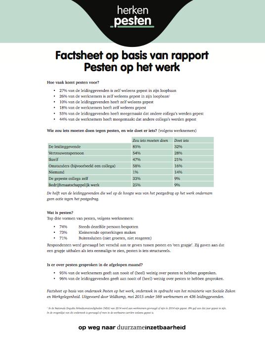 Factsheet pesten op het werk Ministerie SZW juni 2015
