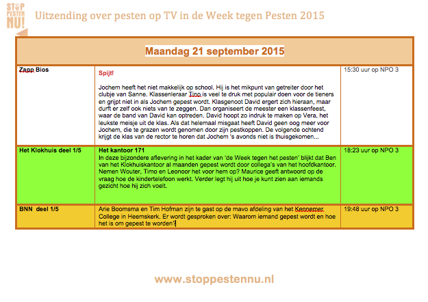Maandag 21 september TV programma's over pesten ivm Week tegen pesten
