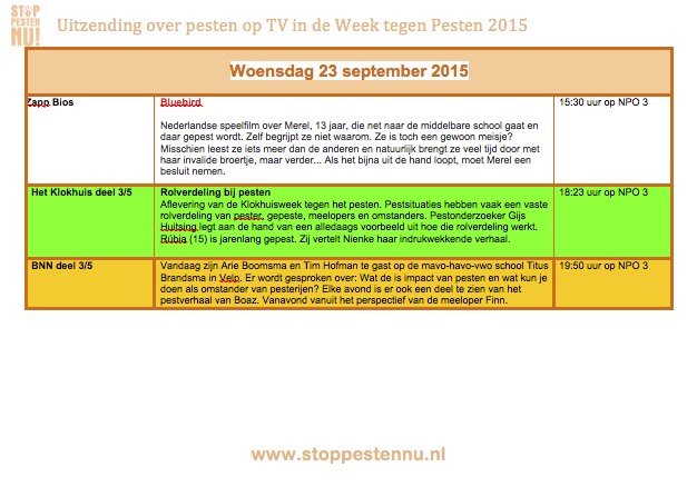 Uitzendingen over pesten op TV in de Week tegen Pesten woensdag 23 september 2015