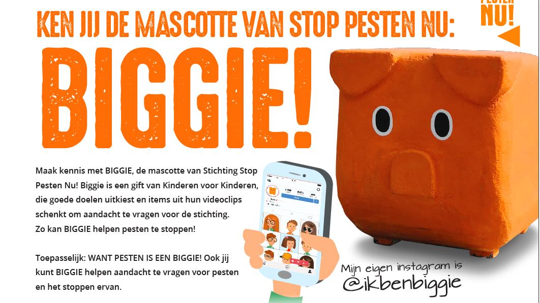 Mascotte BIGGIE van Stichting Stop Pesten Nu geschonken door Kinderen voor Kinderen
